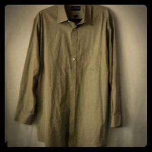 Stafford Essentials Tan  button-up Fitted 18 34-35